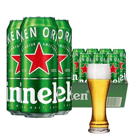 Heineken 喜力 喜力(Heineken)啤酒 原装进口经典风味黄啤 500ml*11听 配杯