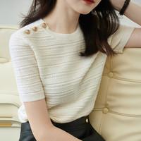 YUZHAOLIN 俞兆林 女士针织短袖上衣T恤