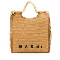 玛尼Marni手提包女士奢侈品流苏边草编手提包 褐色 通用尺码0