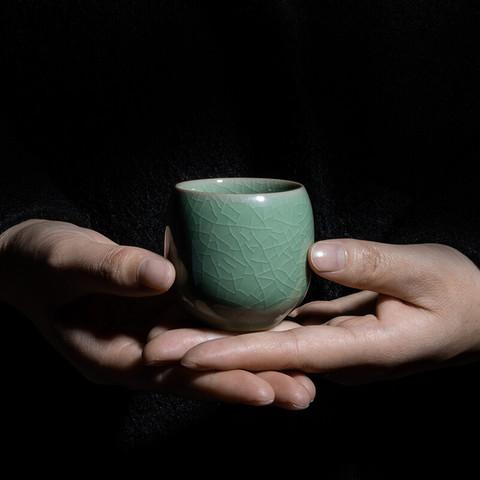 xigu 熹谷 龙泉青瓷 鸡蛋杯冰裂陶瓷主人杯品茗单杯