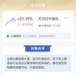 员工自留基 持有超3000万 东方红中国优势灵活配置混合