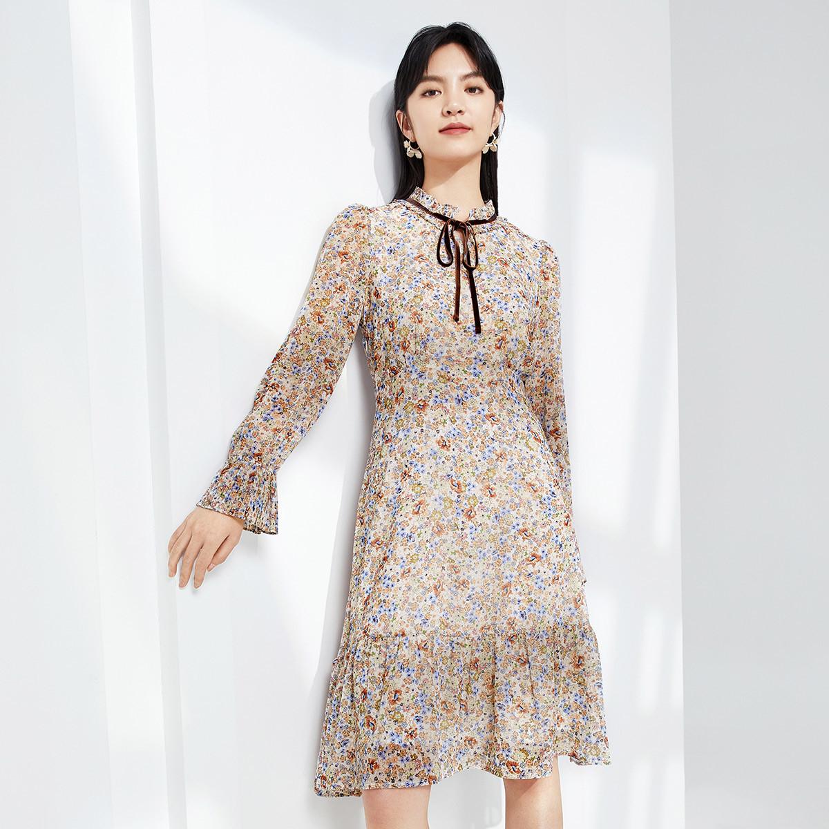 eifini 伊芙丽 1C1995181-1甜瓜桔  女士连衣裙
