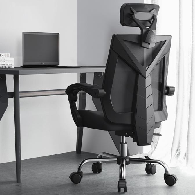 HBADA 黑白调 Hbada) 电脑椅电竞椅办公椅子老板椅人体工学椅靠背家用可躺旋转 HDNY132-干练 黑色无脚托