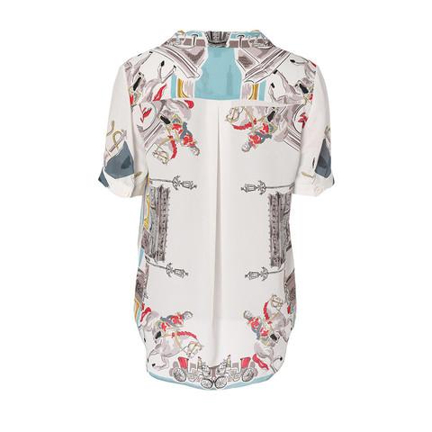 YINER 音儿 YINER音儿女装2020夏季新款时尚手绘图案印花V领真丝衬衫上衣