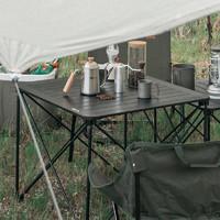 MOBI GARDEN 牧高笛 MOBIGARDEN)折叠桌 户外露营轻量便携野餐桌铝合金折叠桌L NX20665043 夜幕黑