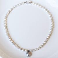 PearlYuumi/優美珍珠 淡水马贝项链 淡水珠6-6.5mm 马贝13mm 全长42cm