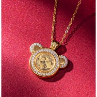 YONGYIN 永银钱币博物馆 珐琅福字熊猫金币1克吊坠 19.6*16mm 铜 镶嵌白色皓石 红色珐琅 18K金
