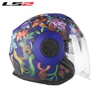 LS2半盔摩托车春夏头盔帽檐四分之三双镜片电动复古透气男女蓝牙头盔OF570 哑紫兰水墨画 XXL(建议59-60头围)