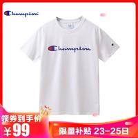 Champion 【券后价99】冠军春夏新款情侣款印花大C圆领短袖T恤男潮女 p