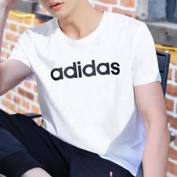 adidas NEO 大logo 男款针织T恤休闲运动圆领短袖训练服男装