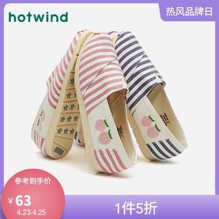 hotwind 热风 热风21年春季新款女士时尚条纹布鞋平底单鞋休闲鞋H30W1582