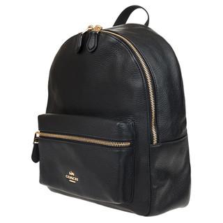 COACH 蔻驰 Leather系列 女士皮质双肩包 F30550 IMBLK 黑色 中号