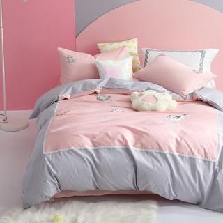 MERCURY 水星家纺 床上四件套纯棉 全棉斜纹床品套件被套床单被罩 猫咪仙球 双人1.8米床