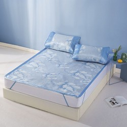 LOVO 乐蜗家纺 一蓝幽梦 可折叠冰丝席三件套 1.8m床