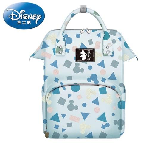 Disney 迪士尼 妈咪包双肩包多功能手提大容量妈妈包母婴包带娃神器奶爸背包轻便 几何蓝