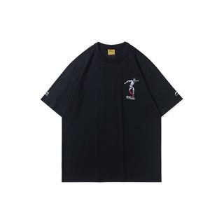 LI-NING 李宁 男装T恤2021寻才问料军布包裹男子宽松短袖文化衫AHSR613