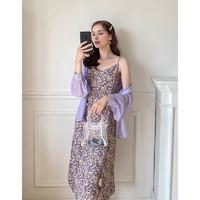 毛菇小象 MA026862 女士长款吊带裙紫色