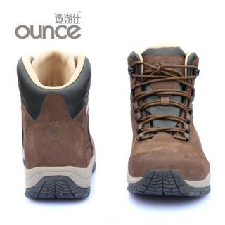 OUNCE遨游仕L11男女款中帮休闲健行徒步鞋牛皮防水户外休闲鞋 咖啡色 45
