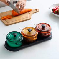 Citylong 禧天龙 珐琅锅形调料盒 3件套