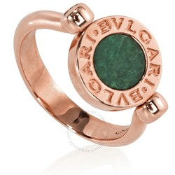 BVLGARI 宝格丽 玫瑰金配绿色翡翠戒指 350908