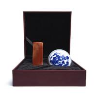 西泠印社 孤山印石篆刻印章石材素钮雕钮方章送礼盒装