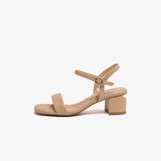 BASTO 百思图 BASTO/商场同款时尚一字扣带方头粗跟女凉鞋