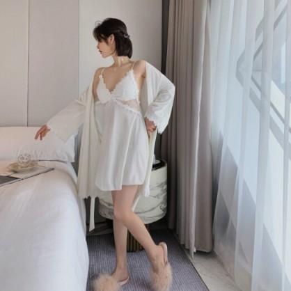PEANOJEAN 6775 女士性感丝绒睡袍睡裙