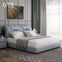 hommy 佳佰 真皮实木床组合套装 乳胶独立簧床垫*1+床头柜*2 1.8*2m