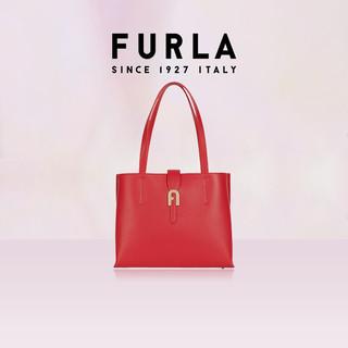 FURLA 芙拉 FURLA/芙拉经典款SOFIA 2021春夏新品女式荔枝纹中号手提托特包 红色