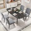 白花 轻奢大理石纹餐桌椅组合(一桌四椅配绿椅)