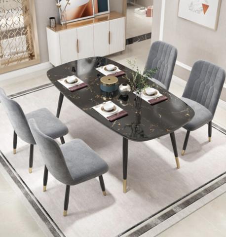 喜视美 轻奢大理石纹餐桌椅组合(一桌四椅)