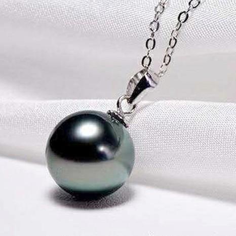KRISTEN JUDI 黑珍珠项链女单颗正圆吊坠s925银