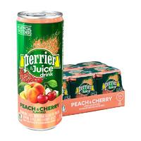 perrier 巴黎水  桃子&樱桃味 含气饮料 250ML*24罐