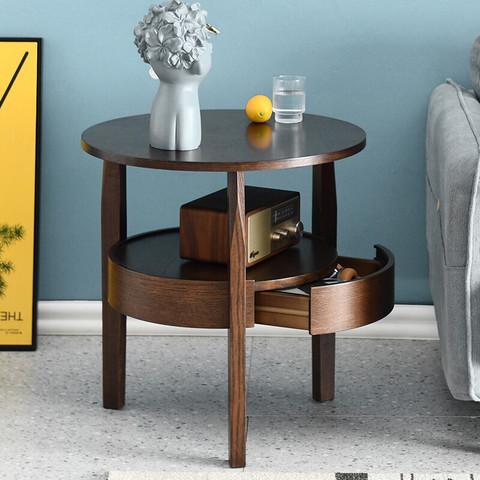 JIAYI 家逸 实木茶几北欧ins简约沙发边柜实木客厅边几小圆桌创意角几边桌小桌子RF-CJ018