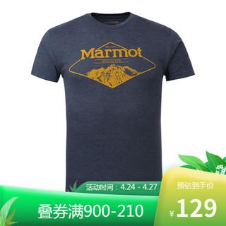 Marmot 土拨鼠 marmot土拨鼠春夏新品户外运动弹力超轻棉感男短袖T恤 (欧码偏大)