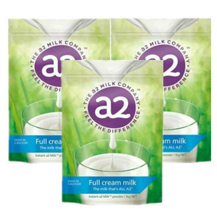 a2 艾尔  高钙全脂奶粉 学生/成人/中老年人 1kg 3袋装