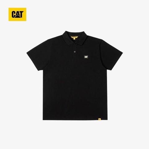CAT 卡特彼勒 CAT卡特 21新款短袖t恤男女款 春夏季翻领吸汗干爽纯色短T上装CK1POQ11001 黑色 M