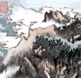 陆俨少 《蒙象册5(黄山图)》 47×47cm 装饰画 纸本设色