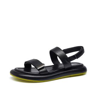 MARK FAIRWHALE 马克华菲 运动凉鞋女夏季新款休闲沙滩鞋女魔术贴平底休闲一字带凉鞋女鞋子