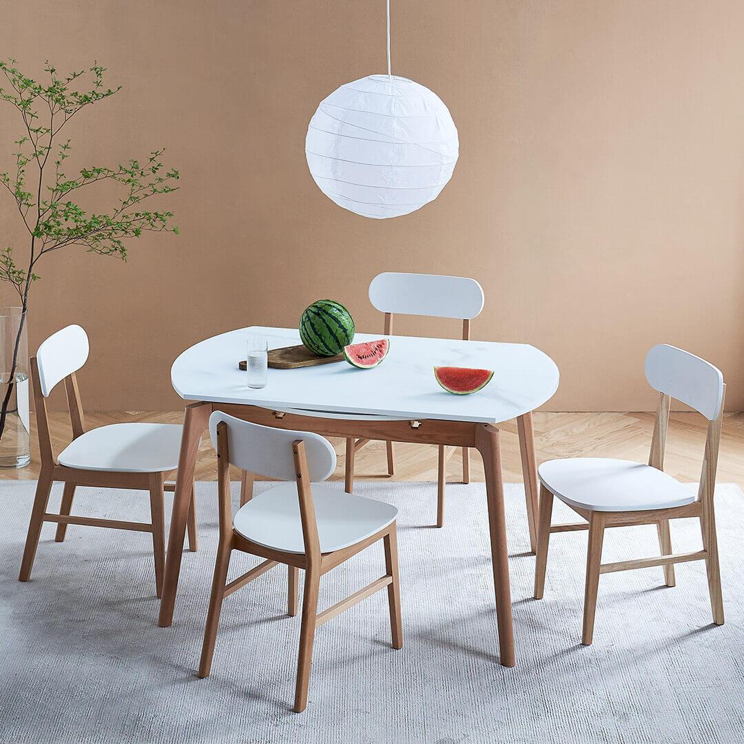 样子生活 方圆伸缩实木餐桌椅