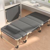 艾臣 AC-191 单人折叠床+舒适棉垫 灰色 加宽加固款