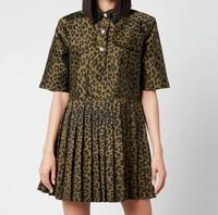 女士提花连衣裙-橄榄色