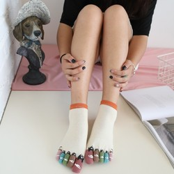 YUZHAOLIN 俞兆林 62115 女士五指点胶猫吃鱼袜子 5双装