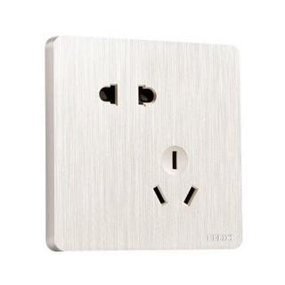 DELIXI 德力西 开关插座面板 86型开关墙壁电源10A错位五孔插座 拉丝珠光白暗装插座