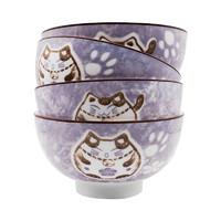 ARST 雅诚德 招财纳福釉下彩系列 A922 陶瓷碗 4.5英寸 4个装 紫色