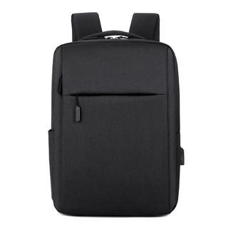 OMGB 书包男士背包女可充电15.6商务休闲电脑包简约通勤大容量双肩包 黑色