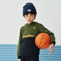 SKECHERS 斯凯奇 男童拼色连帽卫衣