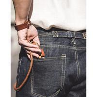 马登 工装 美式复古重磅直筒丹宁赤耳原牛阿美咔叽牛仔裤男 靛蓝 30