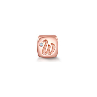 CHOW TAI SENG 周大生 周大生钻石18k金项链吊坠转运珠女字母玫瑰金挂坠串珠手链正品