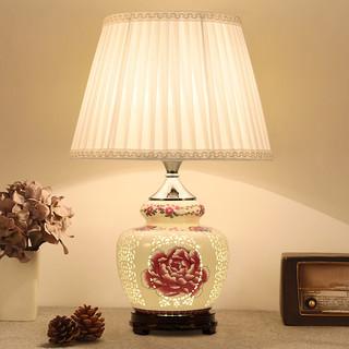 优丽美家 新中式台灯卧室床头灯温馨古典复古怀旧禅意客厅陶瓷床头柜灯台灯